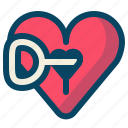 heart, key, lock, love, romance, valentine icon