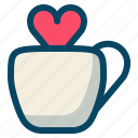 cup, drink, heart, love, romance, valentine