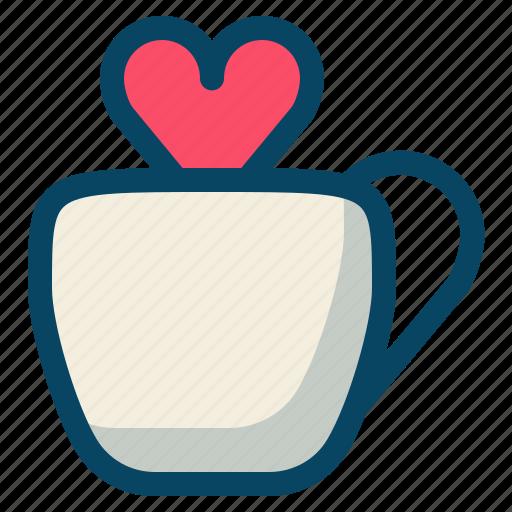 cup, drink, heart, love, romance, valentine, yumminky icon