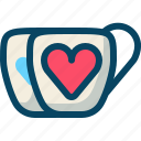 cups, drinks, hearts, love, romance, valentine icon
