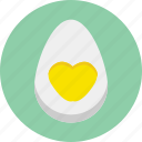 breakfast, egg, food, half, heart, love, valentine icon