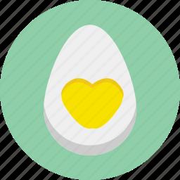 breakfast, egg, food, half, heart, love, valentine icon