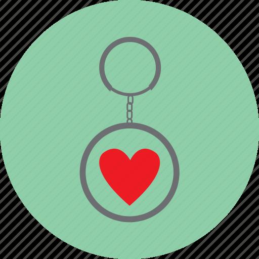 gift, heart, keyring, love, valentine icon
