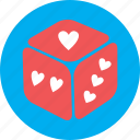 dice, game, heart, love, ludo, valentine icon