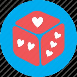 dice, game, heart, love, ludo, valentine icon