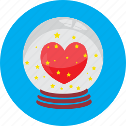 ball, crystal, gift, globe, heart, love, valentine icon