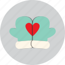 gloves, heart, love, valentine icon