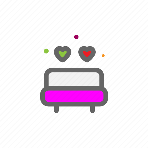 bed, bedtime, heart, love, lovers, passion, valentine icon