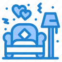 couch, lamp, love, sofa icon