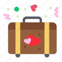 briefcase, heart, love, wedding