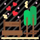 bench, date, love, park, tree