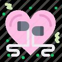 headphone, heart, love, music, romantic icon