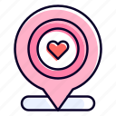 location, pin, placeholder, heart, love icon