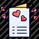 invitation, card, heart, love, marriage icon