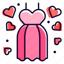 dress, wedding, clothing, heart, suit icon