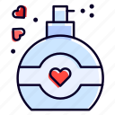 perfume, bottle, heart, love, fragrance icon