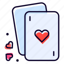 cards, love, heart, poker, romantic icon