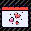 calendar, date, schedule, heart, love