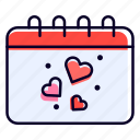 calendar, date, schedule, heart, love icon