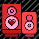 speaker, heart, volume, woofer, romantic, song icon