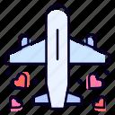 honeymoon, travel, plane, heart, romantic icon