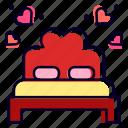 marriage, heart, double, bed, honeymoon, romantic icon
