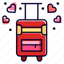 luggage, travel, honeymoon, suitcase, love icon