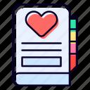 dairy, contact, book, agenda, heart, notebook icon
