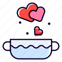 bowl, heart, soup, hot, romance icon