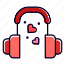 headphone, heart, love, song, romantic, romance icon