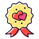 badge, heart, love, charity, romance icon