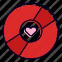 disk, dvd, bluray, heart, romantic, song icon