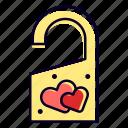 honeymoon, door, knob, heart, hotel, love icon