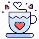 tea, heart, coffee, cup, love icon