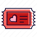 ticket, party, cinema, love, and, romance, heart icon