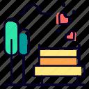 garden, love, bench, date, valentine, day icon