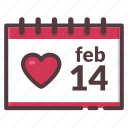 calendar, date, february, february 14, valentine's day icon