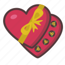 box, chocolate, gift, heart, valentine icon