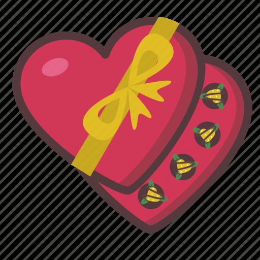 box, chocolate, gift, heart, valentine icon