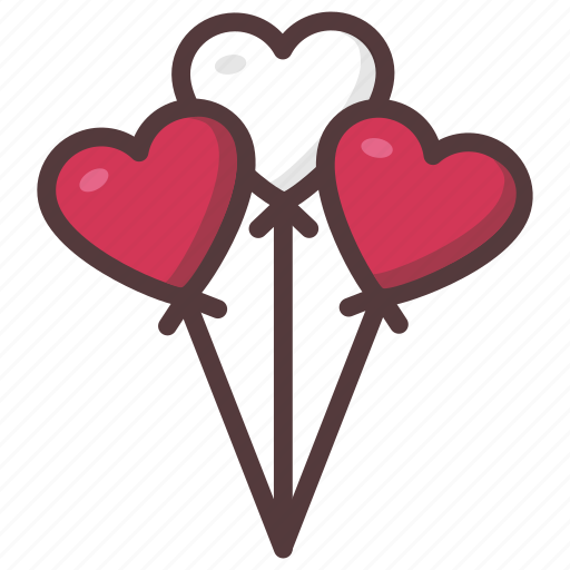 balloons, gift, heart, love, message, valentines icon