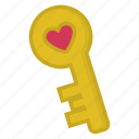 heart, key, love, unlock, valentine icon