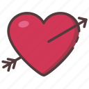 arrow, heart, love, romantic, valentine icon