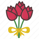 bouquet, flowers, roses, valentine icon