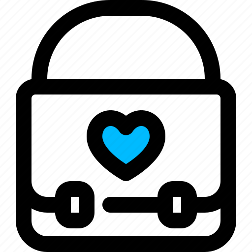 bag, briefcase, heart, love icon