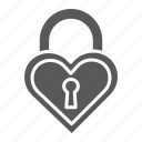 heart, keyhole, lock, love, padlock, secure, shape icon