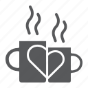 coffee, cup, drink, heart, love, mug, mugs icon