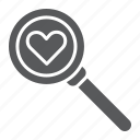 amour, find, lens, love, magnifying, search icon