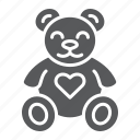 animal, bear, child, heart, plush, teddy, toy icon