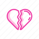 broken, couple, heart, hurt, love, pain icon