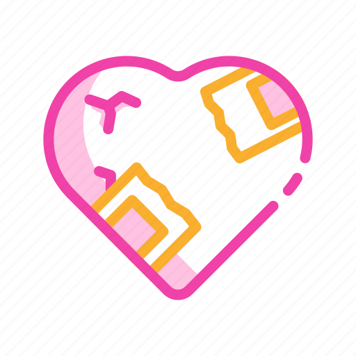 break, couple, heart, hurt, love, pain, relationship icon